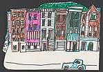 """Study for """"The Block"""" [row of buildings, liquor store sign]"""