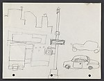 """Study for """"The Block"""" [lampost with arrow sign]"""
