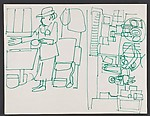 """Study for """"The Block"""" [lady and interior]"""