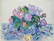 Roses in a Blue Bowl