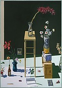 """Dutch"" Still Life with Orchids, Postcard View of Paris, and ""Death of Marat"""