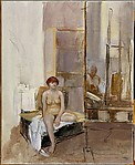 Sitting Nude and Reflected Painter (Self-Portrait)