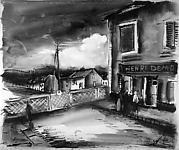 Village Street with Railing