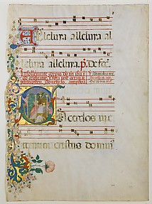Manuscript Leaf with the Celebration of a Mass in an Initial S, from an Antiphonary