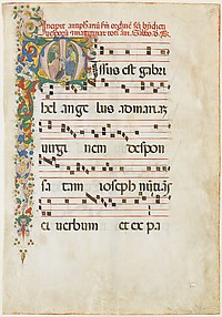 Manuscript Leaf with Saint John the Evangelist and Saint John the Baptist in an Initial M, from an Antiphonary