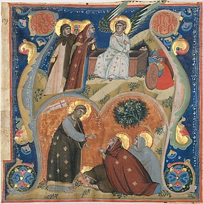 Manuscript Illumination with Scenes of Easter in an Initial A, from an Antiphonary