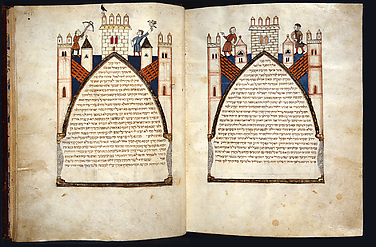 Hebrew Bible: Castle Ramparts with Knightly Pursuits (fols. 444v-445)