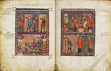 The Rylands Haggadah: The Burning Bush and the Miraculous Staff of Moses (right); The Healing of Moses's Arm, the Return to Egypt, and Zipporah Circumcising Her Son (left) [fols. 13v-14r]