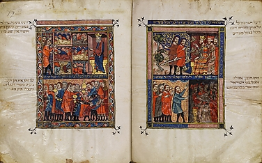 The Rylands Haggadah: The Plagues of Locusts and of Darkness (right); The Death of the Firstborn and the Looting of Treasures (left) [fols. 17v-18r]