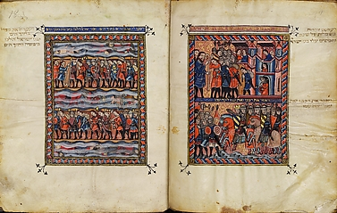 The Rylands Haggdah: The Israelites Leaving Egypt and the Pharaoh's Pursuing Army (right); The Crossing of the Red Sea (left) [fols. 18v-19r]