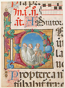 Manuscript Illumination with Singing Monks in an Initial D, from a Psalter