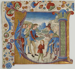 Manuscript Illumination with Joseph Sold by His Brothers in an Initial V, from an Antiphonary