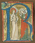Manuscript Illumination with the Annunciation in an Initial R, from a Gradual
