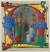 Manuscript Illumination with the Holy Women at the Tomb in an Initial A, from an Antiphonary