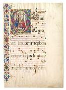 Manuscript Leaf with Saint John Gualbert in an Initial S, from an Antiphonary