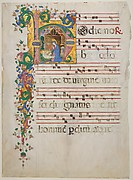 Manuscript Leaf with the Nativity in an Initial H, from an  Antiphonary