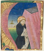 Manuscript Illumination with Saint Dominic Saving the Church of Saint John Lateran in an Initial A, from a Gradual