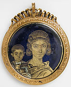 Gold Glass Medallion with a Mother and Child