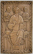 Plaque with Christ enthroned with two Apostles