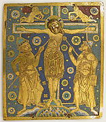 Plaque with the Crucifixion between Longinus and Stephaton and Personifications of the Sun and Moon
