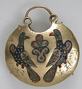 Temple Pendant with Two Birds Flanking a Tree of Life (front) and Geometric and Vegetal Motifs (back)
