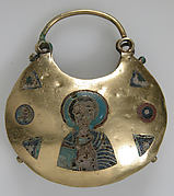 One of a Pair of Temple Pendants, with Busts of Male Saints Holding Martyr's Cross (front) and Leaf and Rosette Motifs (back)