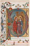 Manuscript Illumination with the Visitation in an Initial D, from a Choir Book