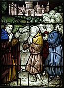 Stained Glass Panel with a Holy Man and Six Suppliants