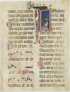Manuscript Leaf with King David in an Initial I, from a Psalter