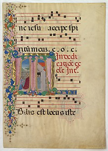 Manuscript Leaf with the Dedication of a Church in an Initial T, from a Gradual