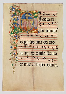 Manuscript Leaf with the Trinity in an Initial G, from an Antiphonary
