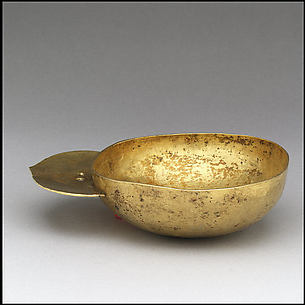 Gold Drinking Bowl with Handle