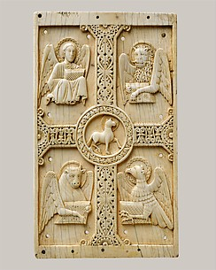 Plaque with Agnus Dei on a Cross between Emblems of the Four Evangelists