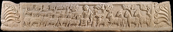 Part of a Sarcophagus Lid with the Separation of the Sheep from the Goats