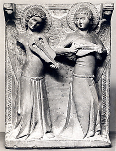 Two Angels with Musical Instruments