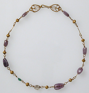 Gold Necklace with Amethysts, Glass, and Gold Beads