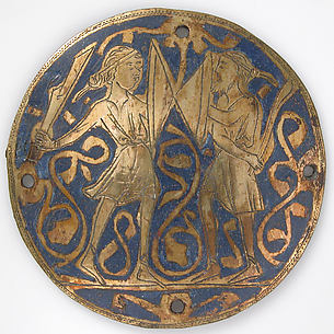 Medallion with Two Warriors, One Bearded, with Swords and Bucklers