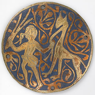 Medallion with Youth Leading Long-necked Animal
