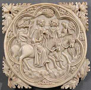 Ivory Mirror Case with a Falconing Party