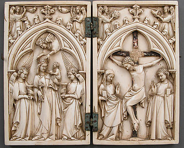 Diptych with Virgin and Child and Crucifixion