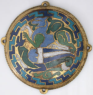 Combat Between Dragon and Dog (one of five medallions from a coffret)