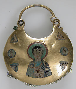 One of a Pair of Temple Pendants, with Busts of Male Saints Holding Martyr&#39;s Cross (front) and Leaf and Rosette Motifs (back)