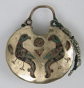 One of a Pair of Temple Pendants, with Confronted Birds (front) and Human Heads (back)