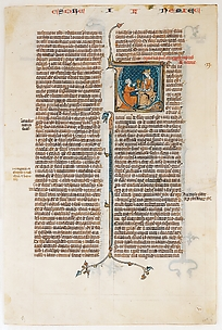 Manuscript Leaf with Opening of The Book of Nehemias, from a Bible
