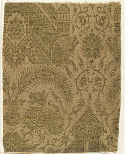 Textile with Figures and Animals in Architectural Setting