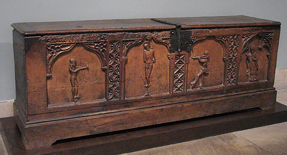 Chest with Relief Figures of Saints Sebastian and Blaise