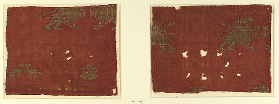 Textile with Griffin and Fawn Design