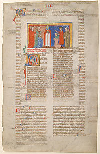 Manuscript Leaf with Marriage Scene, from Decretals of Gregory IX