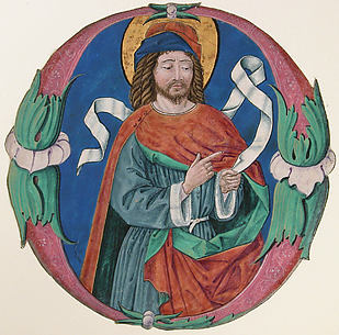 Initial O with the figure of a saint