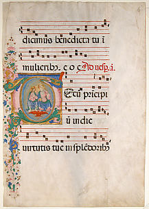 Manuscript Leaf with the Trinity in an Initial T, from an Antiphonary
